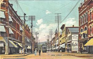 Oneonta NY Main Street Business District Trolley Signage Postcard