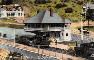 Manitou & Pike's Peak Railway~Engine-Pulled Open-Air Trolley UNDER Depot c1910