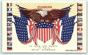 Postcard Patriotic US Flag Eagle Flags of South and Central America F04