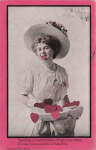 Valentine's Day Woman Speaking Of Hearts 1912