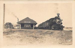 Nenana AK Railroad Station Train Depot Signed Cann RPPC Postcard