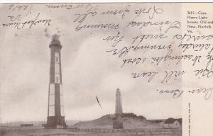 Cape Henry Light Houses,  Old and New,  Norfolk,  Virginia,   PU_1906