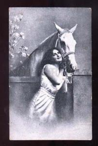 001389 BELLE Lady Long Hair w/ White HORSE vintage Russian PC