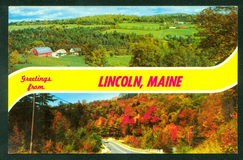 Greetings LINCOLN MAINE Farm Fall Foliage Road Barn Vintage Postcard
