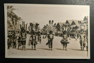 Mint Vintage Natives with Head Dress Port Moresby Papua New Guinea RPPC