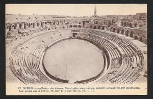Ancient Arena Interior Nimes France unused c1910's