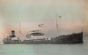 British Destiny Cargo Steamship Tinted Real Photo RPPC Postcard