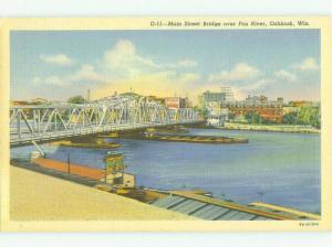 Unused Linen BRIDGE SCENE Oshkosh Wisconsin WI HQ9895