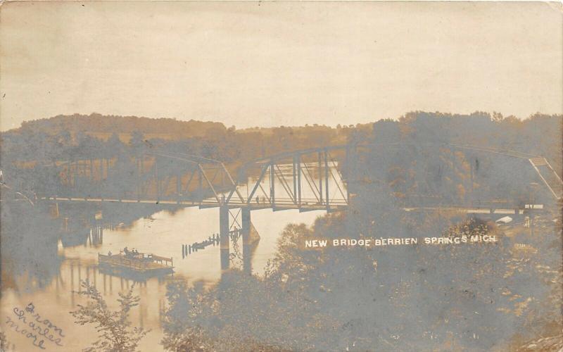F35/ Berrien Springs Michigan RPPC Postcard 1906 New Bridge Ferry River