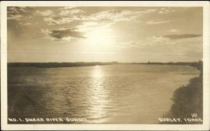 Burley ID Snake River Sunset Real Photo Postcard