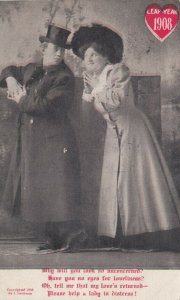 LEAP YEAR, PU-1908; Rhyme, Woman sneaks up to man in a top hat with a proposal