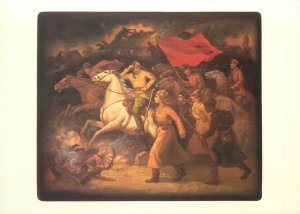 Russia Painting art Drawing Postcard russian art  horsemen marching to war