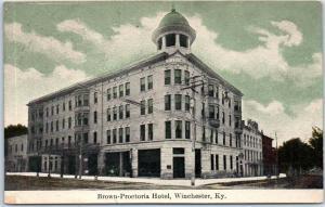 Winchester, Kentucky Postcard Brown-Proctoria Hotel Building 1910 RPO Cancel
