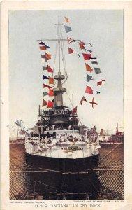 USS Indiana Dry Dock US Navy Battleship 1909 Jamestown Exposition postcard