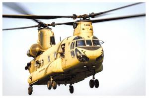 Postcard US Army CH-47 Chinook Helicopter taking part Exercise Noble Jump 17 59E