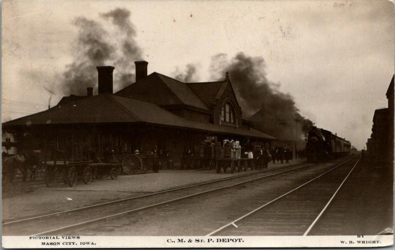 Mason City Iowa~CM&StP Railroad Depot~Train Smokes @ Station~Milk Cans~1909 RPPC