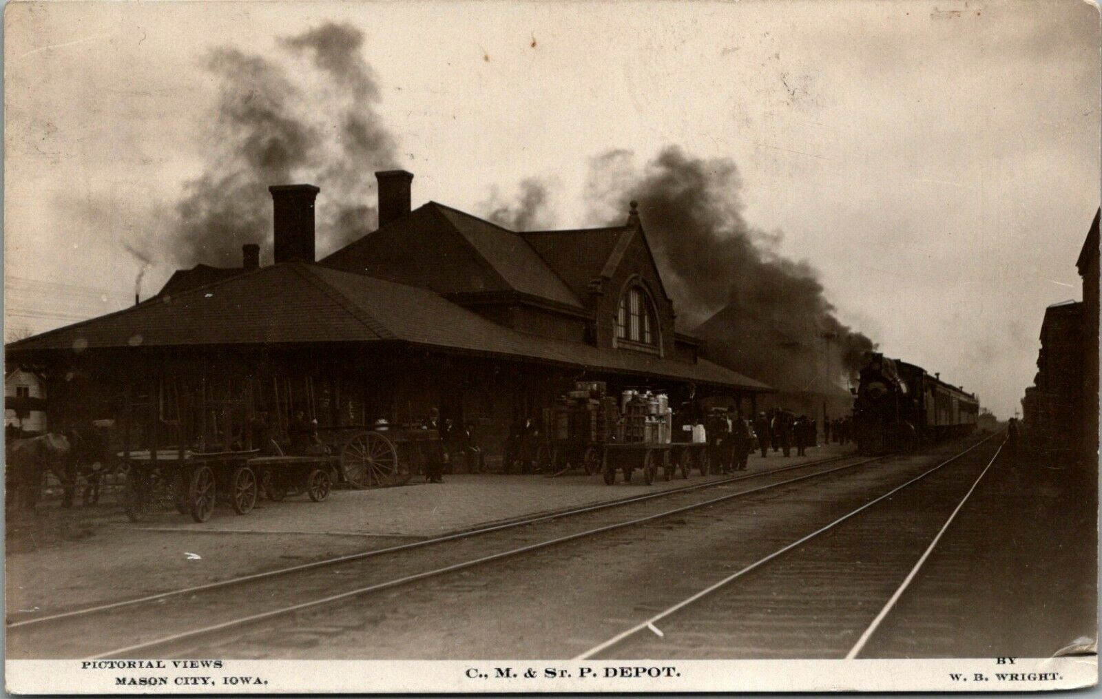 Mason City Iowa~CM&StP Railroad Depot~Train Smokes ...