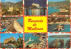 Spain Recuerdo de Mallorca multiviews Cathedral Beach Playa Auto Cars Harbour