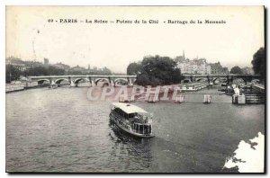 Old Postcard Paris Seine The Pointe de la Cite Dam Monnate
