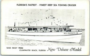 Clearwater Beach Florida Postcard MISS BUCKEYE III Deep Sea Fishing Charter Boat