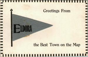 Eldora Missouri~Greetings From The Best Town on the Map c1910 Gray Felt Pennant