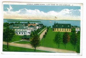 Hawkeye to Yonkers, New York 1933 Postcard, Catholic School, Lake Champlain