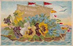 Birthday Wishes Boat Loaded With Baeutiful Flowers 1909