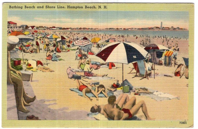 Hampton Beach, N.H., Bathing Beach and Shore Line