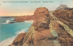 LPS12 Ogunquit Maine Trail Gorge Bald Head Cliff Albertype Postcard hand colored
