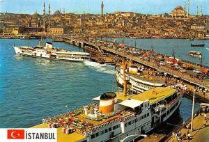 Turkey Istanbul, Galata Bridge New Mosque and Suleymaniye Ship Boats