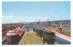 General view of The Famous Soo Locks, Sault Ste. Marie, Michigan, 40-60s