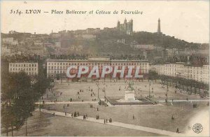 Old Postcard Lyon Place Bellecour and hill Fourviere