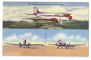 Chicago Municipal Airport Curteich Linen Postcard 1943