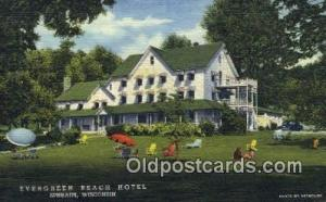 Evergreen Beach Hotel, Ephraim, WI, USA Motel Hotel Postcard Post Card Old Vi...