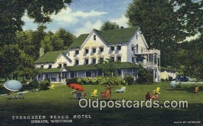 Evergreen Beach Hotel Ephraim Wi Usa Motel Postcard Post Card Old Vi