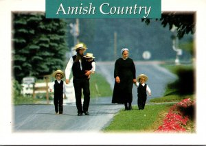 Pennsylvania Amish Country Amish Family Strolling Along A Rural Road 1995