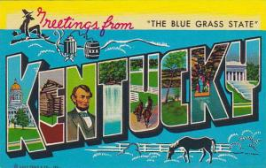 8-Views, Large Letters, Greetings from The Blue Grass State Kentucky, 40-60s