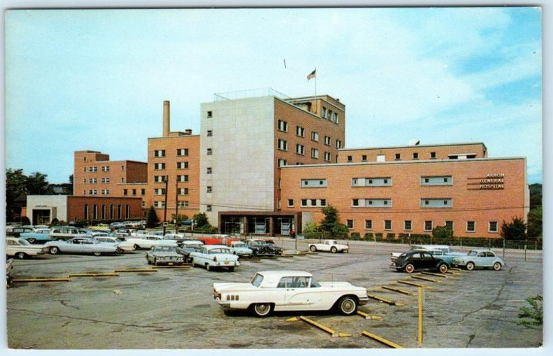 AKRON, Ohio OH AKRON GENERAL HOSPITAL Parking Lot Cars 1950s