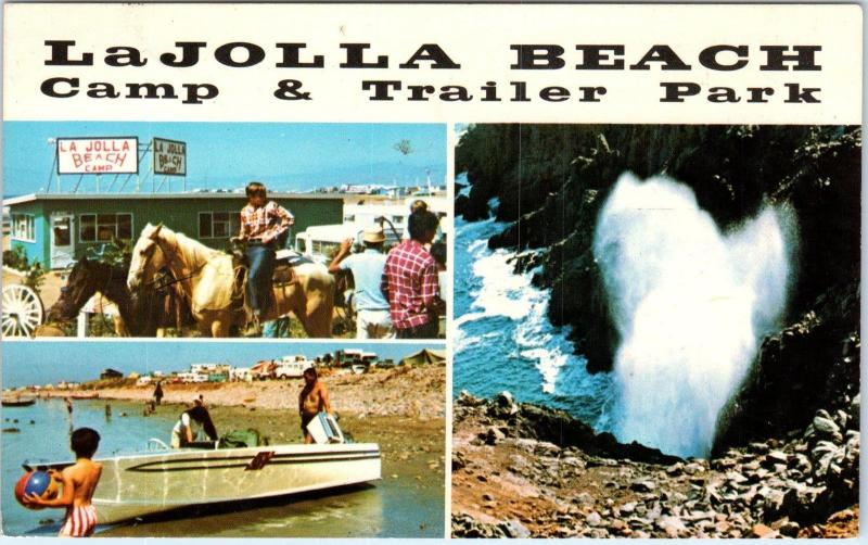 Ensenada Mexico La Jolla Beach Camp Trailer Park C1960s Roadside Postcard