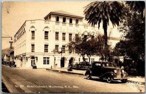 Monterrey, N.L. Mexico RPPC Real Photo Postcard HOTEL COLONIEL Street Scene 1936