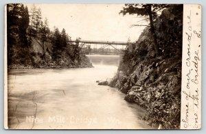 Washington~Nine Mile Bridge Over Falls~Mill~Our People on Top~c1910 RPPC