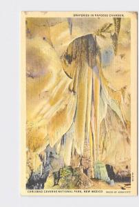 VINTAGE POSTCARD NATIONAL STATE PARK CARLSBAD CAVERNS DRAPERIES IN PAPOOSE CHAMB