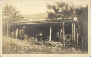 Log Home/Porch -  Pine Mountain, KY  Cancel 1917 Real Photo Postcard spg