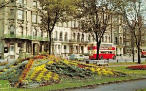 Sussex Postcard, Hove, Floral Clock, Vintage Bus, Classic Car, Mini Van FL4