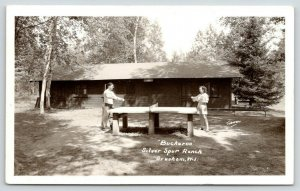 Gresham Wisconsin~Silver Spur Ranch~Buckeroo Cabin~Ping Pong Table~1940s RPPC