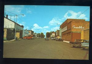 Park Falls,Wisconsin,WI Postcard, Downtown Street, Gambles, Old Cars
