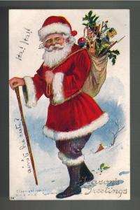 Postcard Cover Christmas  Santa Claus with Toy Bag Cane Season's Greetings
