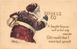 F99/ Santa Claus Christmas Postcard c1910 Express Co Snow Gift 14