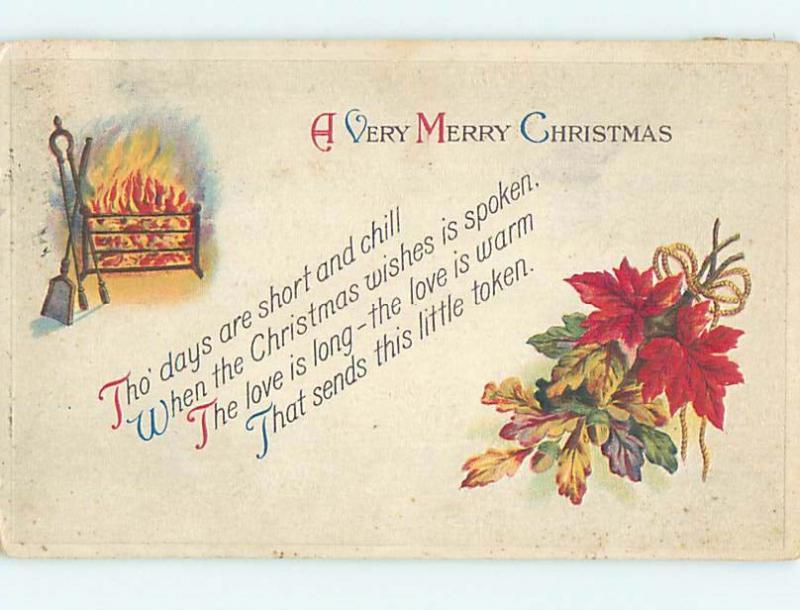 1919 Santa Claus ON RED CROSS CHRISTMAS SEAL STAMP ON BACK OF POSTCARD hk9169