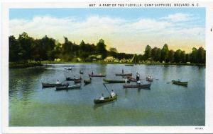 Canoe Flotilla at Camp Sapphire Brevard Transylvania County NC North Carolina WB